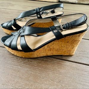 (9) Guess Black Wedge Sandals